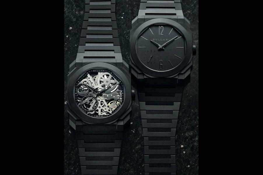 Dans la famille des montres Bulgari Octo, je veux les deux dernières-nées en céramique noire. La première, l'Octo finissimo extra-plate automatique, la seconde, l'Octo finissimo-tourbillon squelette automatique.