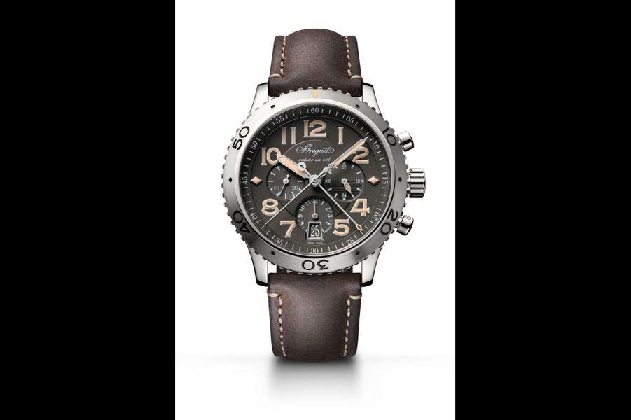 Type XXI en acier, 42 mm, mouvement chronographe automatique avec date par guichet, bracelet en cuir. Breguet. 13 500 €.