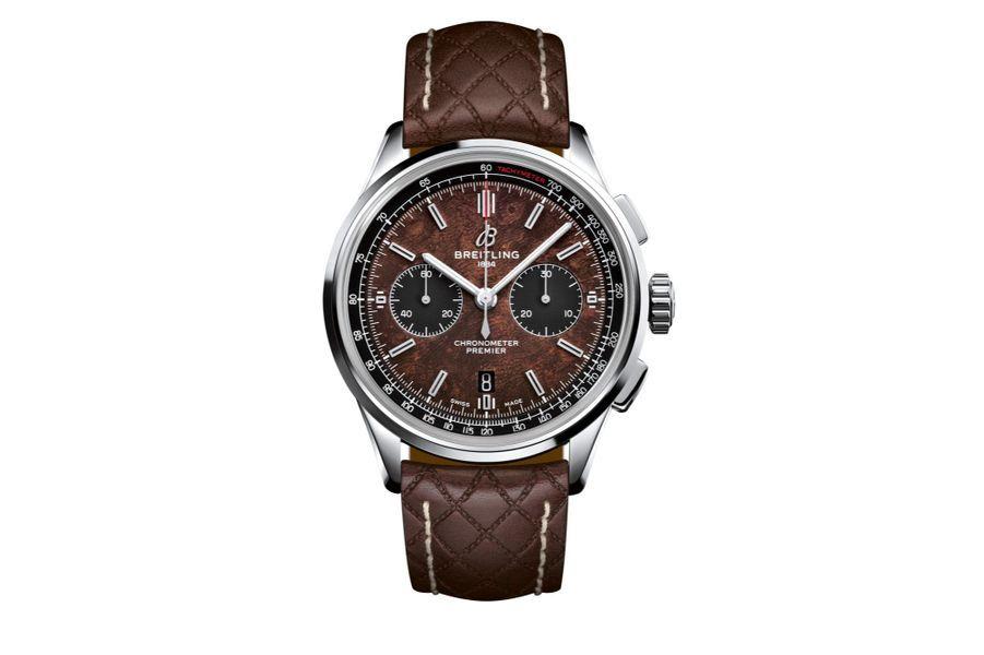 Premier-B01-Bentley en acier, 42 mm, mouvement chronographe automatique avec date par guichet, bracelet en cuir matelassé. Breitling. Série limitée à 1 000 exemplaires. 9 650 €.