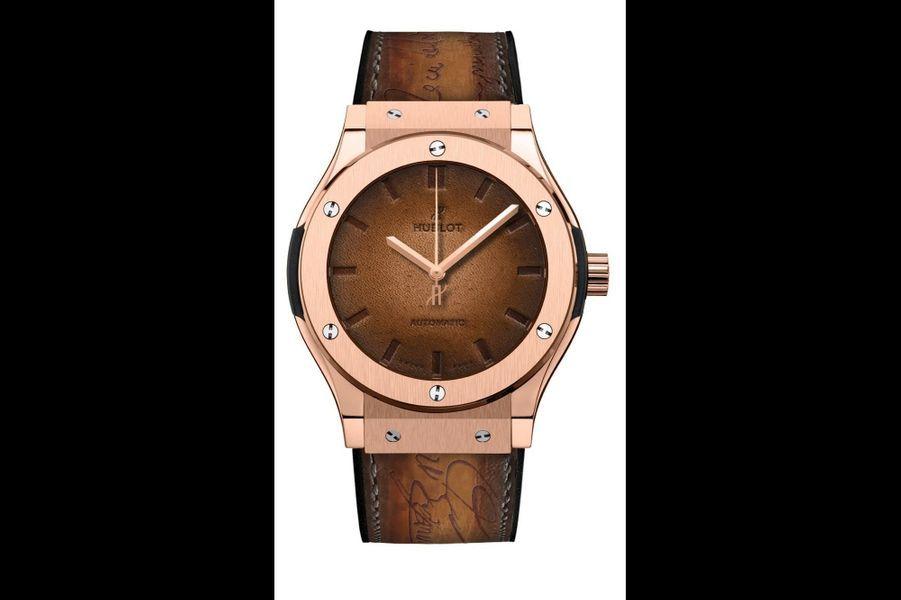 Classic Fusion Berluti en or rose, 45 mm, mouvement automatique, bracelet en cuir. Hublot. Série limitée à 250 exemplaires. 29 000 €.