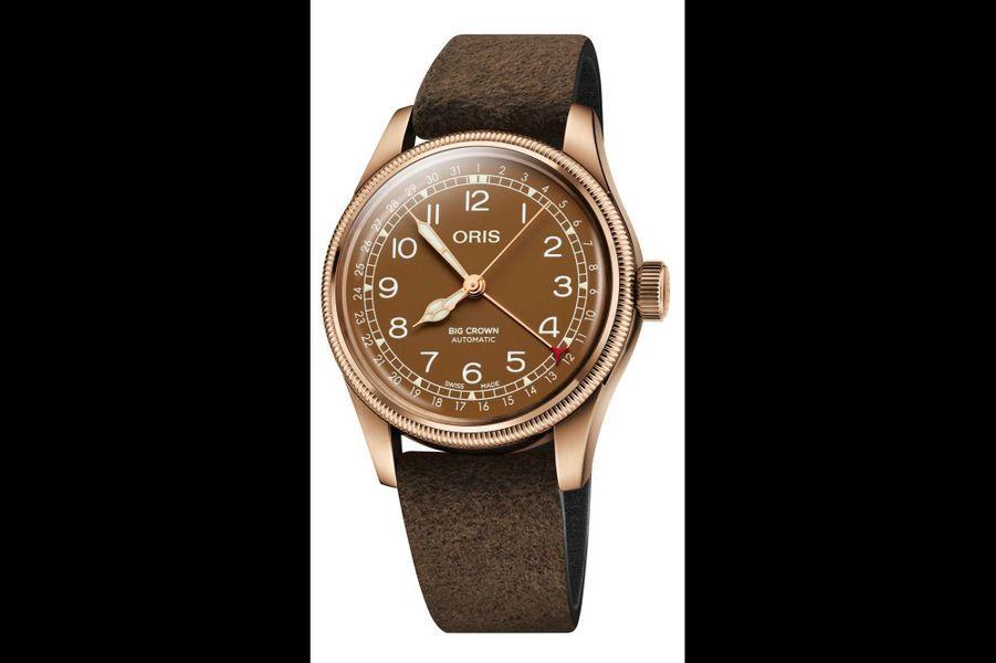 Oris Big Crown en bronze, 40 mm, mouvement automatique avec date par aiguille, bracelet en cuir. Oris. 1 800 €.