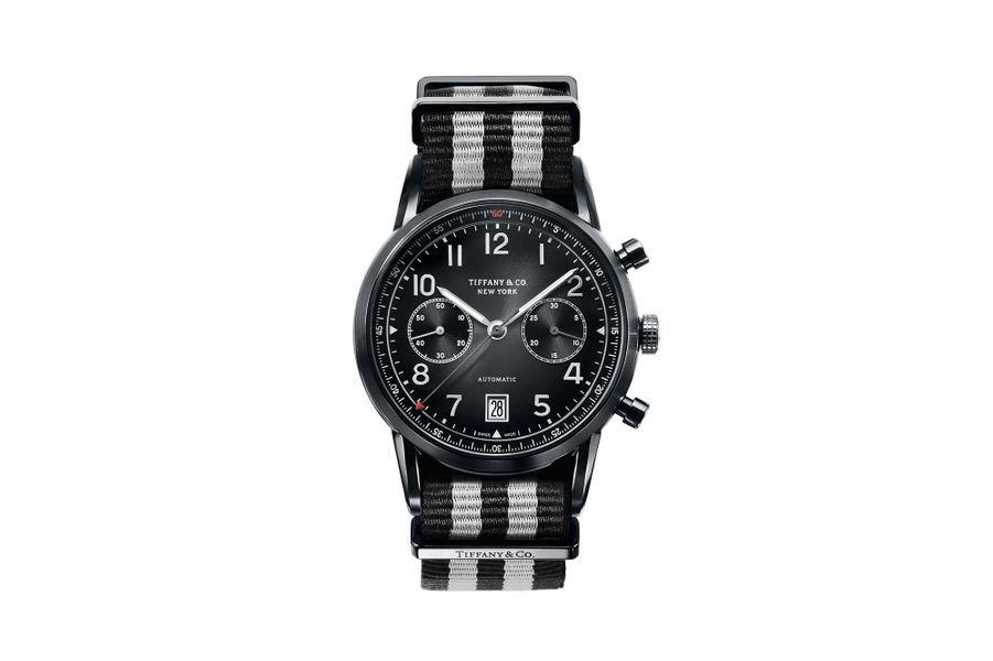 Chronographe CT60 en acier PVD noir, 42 mm, mouvement automatique. Tiffany & Co. 8 200 €.