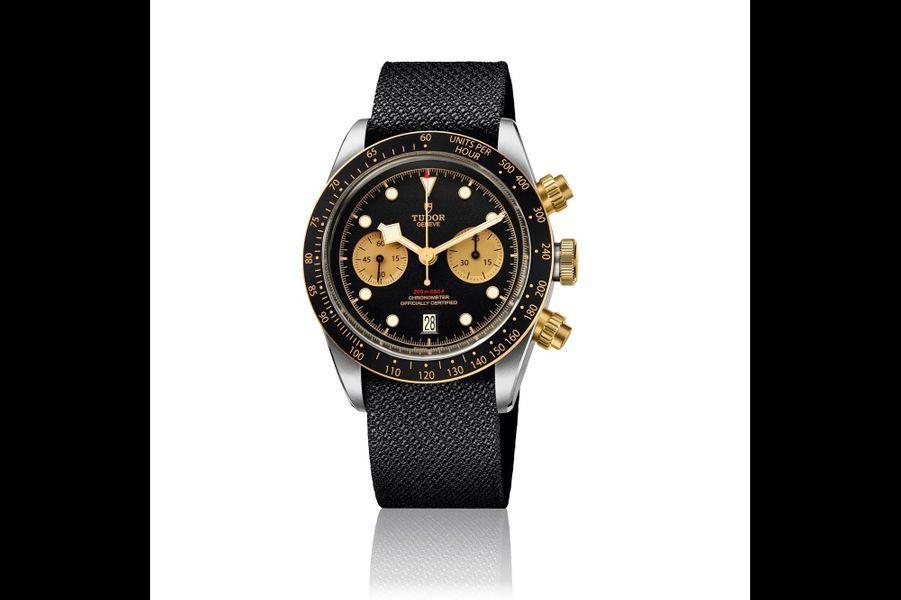 Black Bay en or et acier, 41 mm de diamètre, mouvement chronographe automatique avec date, 5 290 €, Tudor.