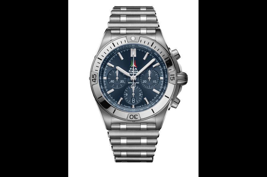Chronomat B01 Frecce Tricolori en acier, 42 mm de diamètre, mouvement chronographe automatique, bracelet en acier, série limitée, Breitling. 8100 euros.