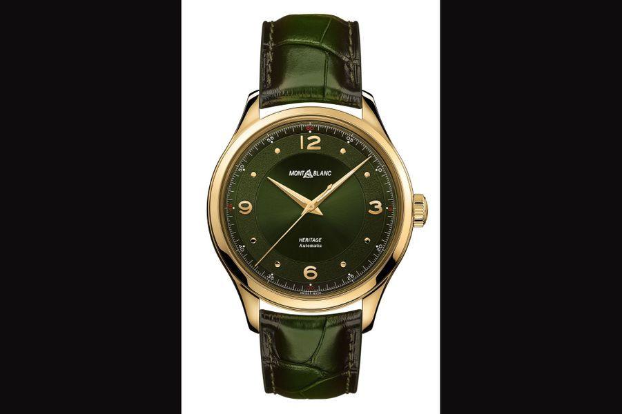 Héritage en or jaune, 40 mm de diamètre, mouvement automatique, bracelet en alligator, Montblanc. 8500 euros.