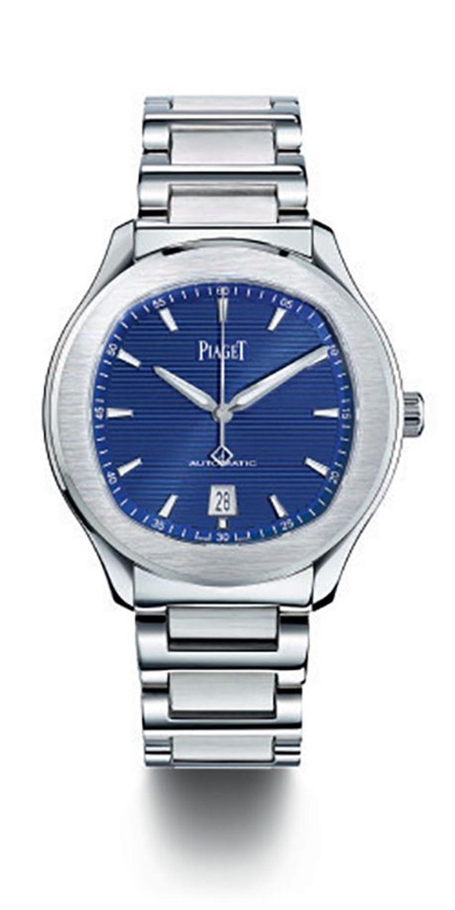 Polo S en acier, mouvement automatique avec affichage de la date, 10 900 €. Piaget.