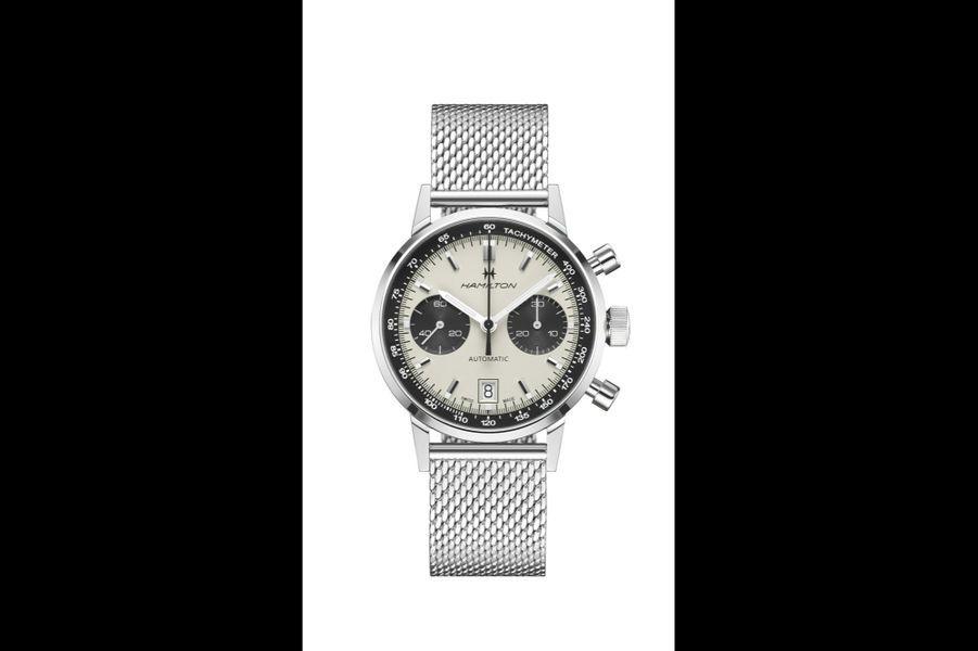 IntraMatic en acier, 40 mm de diamètre, mouvement chronographe automatique avec date par guichet, bracelet maille milanaise en acier. 2095 euros. Hamilton.