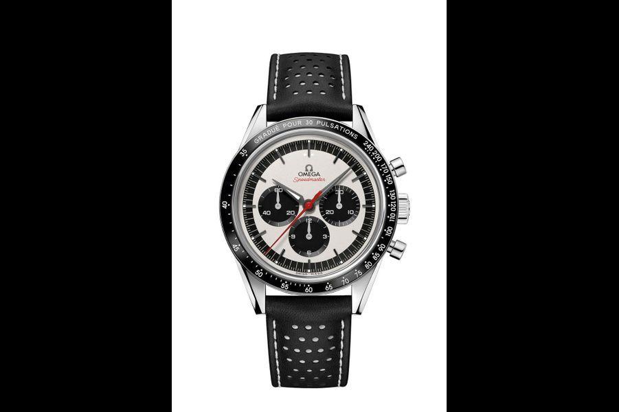 Speedmaster CK 2998 en acier, 39 mm de diamètre, mouvement chronographe à remontage manuel, bracelet en cuir perforé. Série limitée à 2998 exemplaires. 5800 euros. Omega.