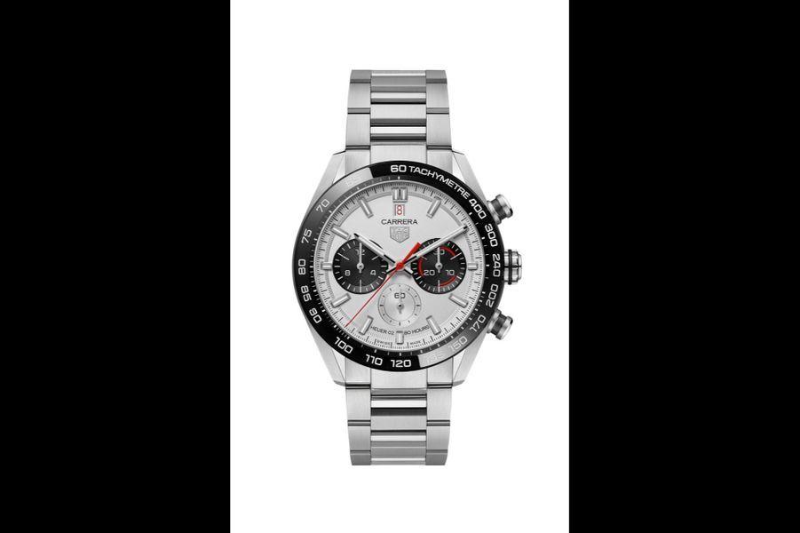 Carrera en acier et céramique, 44 mm de diamètre, mouvement chronographe automatique, bracelet en acier. Série limitée à 1860 exemplaires. 5600 euros. TAG Heuer.
