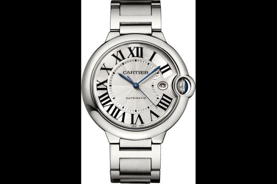 Ballon Bleu de Cartier en acier, 42 mm, mouvement automatique, bracelet en acier, étanche jusqu'à 30 mètres. Cartier. 6550 €.