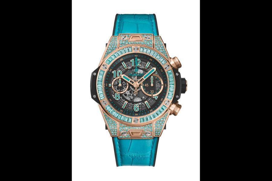 Big Bang Unico en King Gold sertie de tourmaline Paraiba, mouvement chronographe automatique, bracelet en alligator. Hublot.