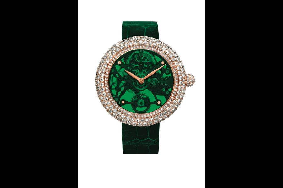 Northern Lights en or rose sertie de diamants, mouvement squelette à remontage manuel, bracelet en alligator. Jacob & Co.