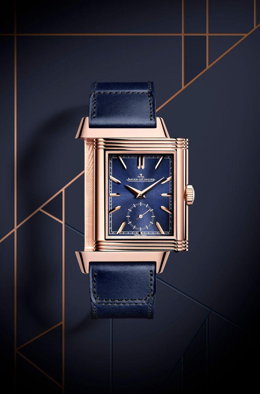 Reverso Tribute Duoface Fagliano Limited en or rose, 47 x 28 mm, mouvement à remontage manuel, bracelet en cuir. Série limtée à 100 exemplaires. Jaeger-LeCoultre.