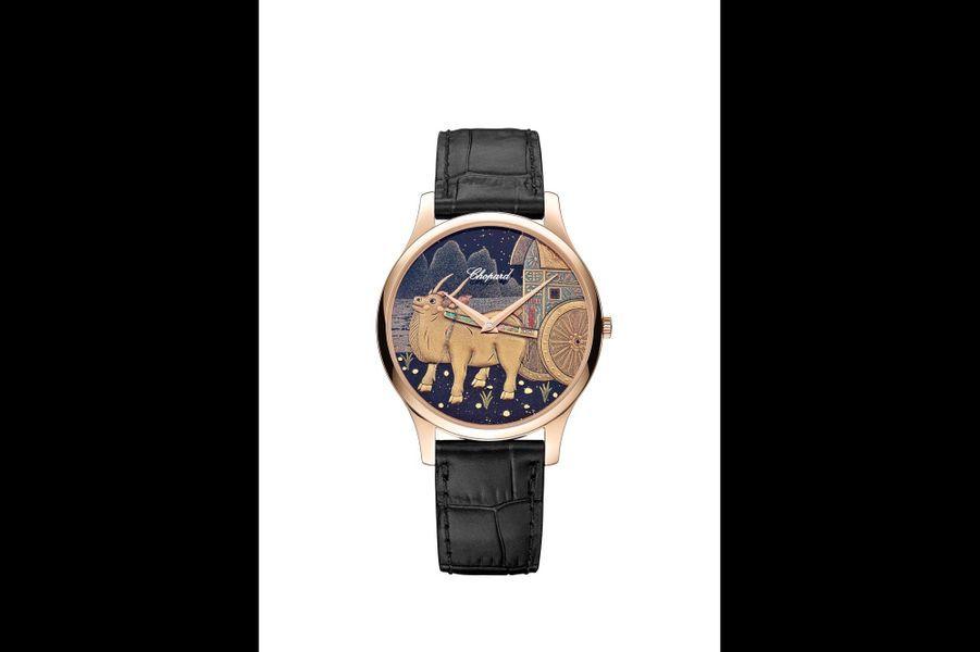 L.U.C XP Urushi Année du Buffle.Boîte en or rose éthique de 39, 5 mm de diamètre, mouvement automatique.Chopard. Prix sur demande.