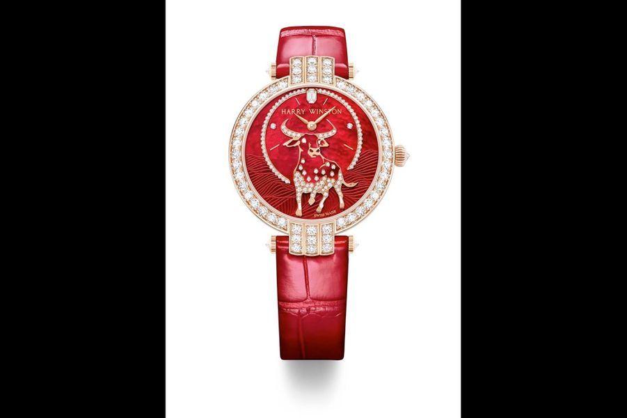 Premier Nouvel An Chinois Ox.Boîte en or rose de 36 mm de diamètre, lunette et anses serties de diamants, mouvement automatique avec heures et minutes décentrées.Harry Winston. Prix sur demande.