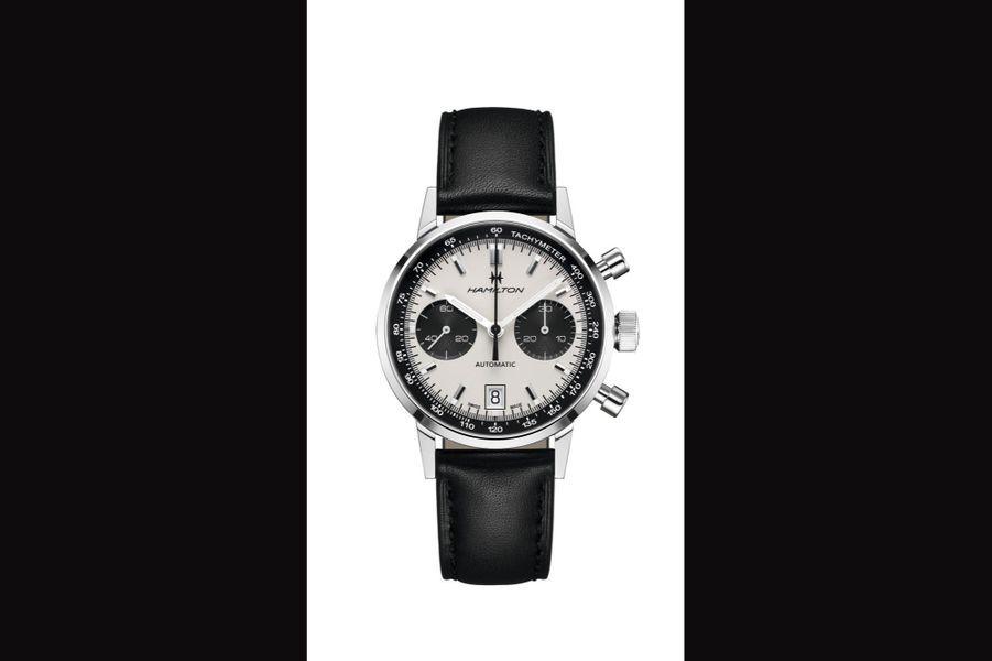 Intra-Matic en acier, 40 mm de diamètre, mouvement chronographe automatique avec date, bracelet en cuir. Hamilton, 1995 euros.
