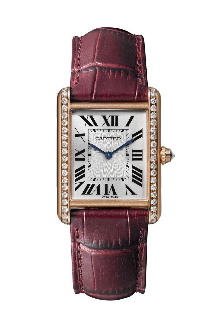 Ok4 Tank Louis Cartier grand modèle en or rose serti de diamants taille brillant