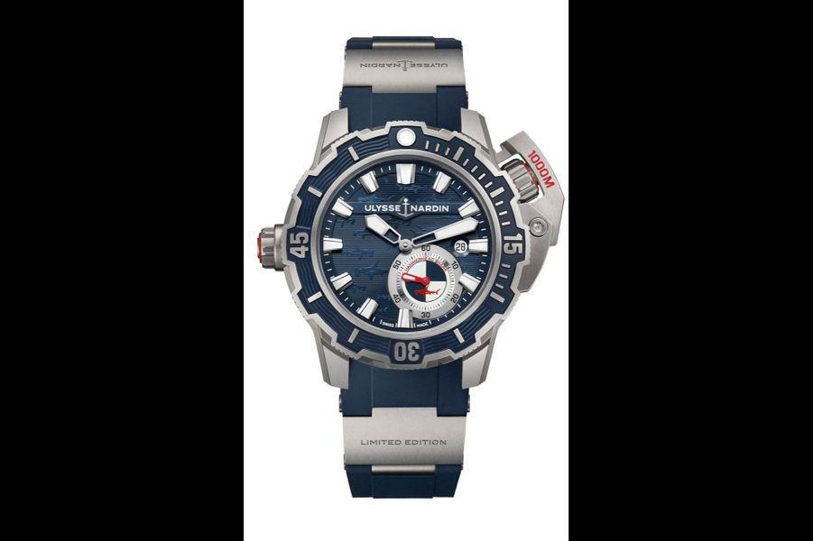 Diver Deep Dive en titane, 46 mm de diamètre, mouvement automatique, bracelet en caoutchouc, étanche à 1 à00 mètres. Ulysse Nardin. 12 000 €.