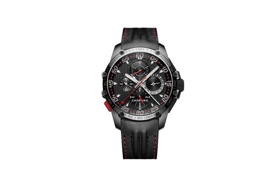 Classic Racing Superfast Chrono Split Second en acier DLC, 45 mm de diamètre, mouvement automatique, bracelet en cuir. Chopard. 14 500 €.