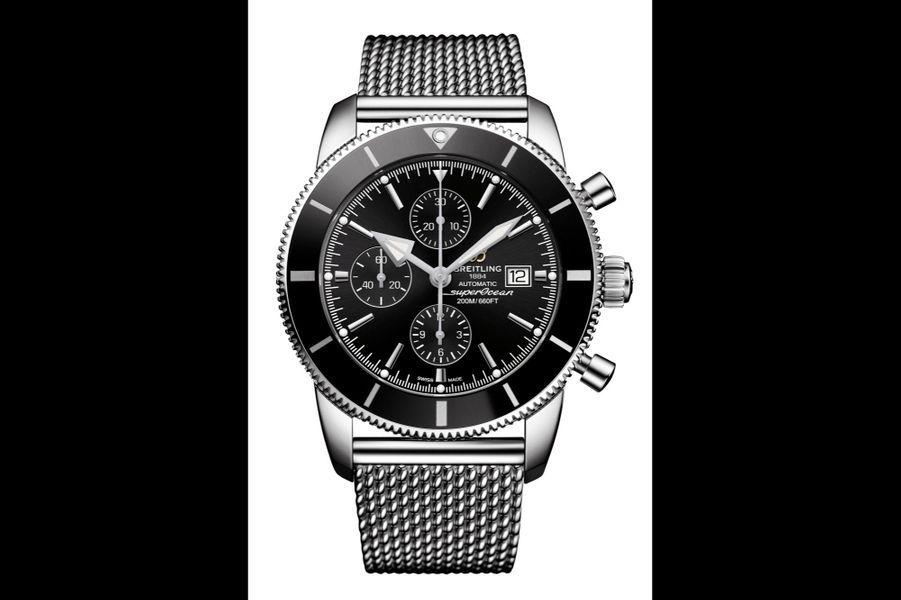 Superocean Heritage II en acier, 46 mm de diamètre, mouvement automatique, bracelet en acier de type maille milanaise. Breitling. 5 170 €.