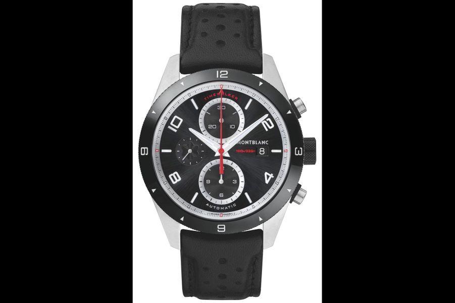 TimeWalker en acier, 43 mm de diamètre, mouvement automatique, bracelet en cuir perforé. Montblanc. 4 000 €.