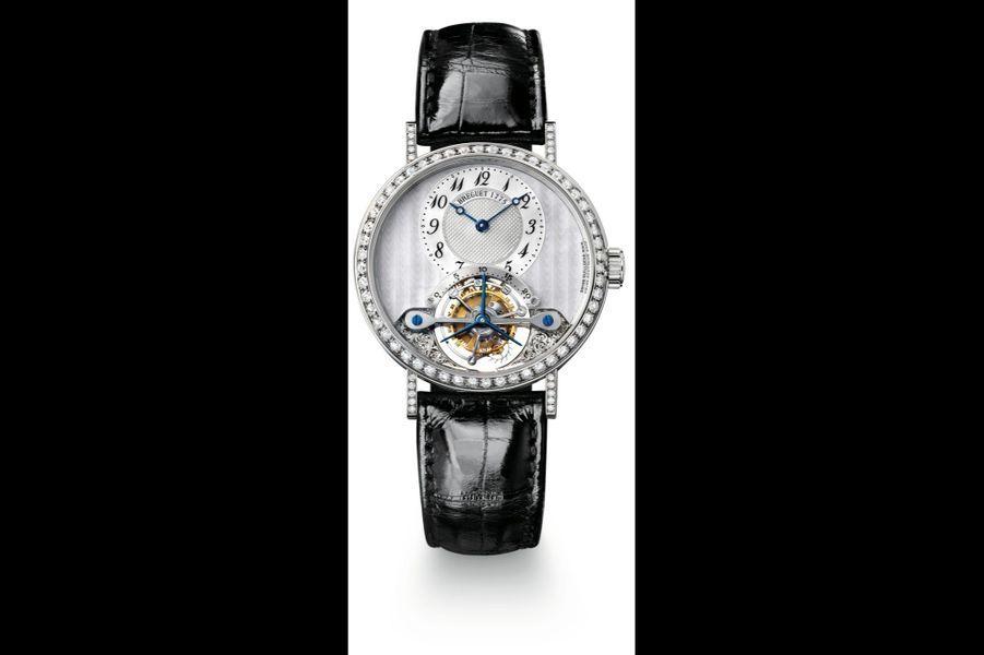 Classique Grande Complication en or blanc et diamants, 35 mm de diamètre, mouvement à remontage manuel, bracelet en alligator. Breguet. 110 600 €.