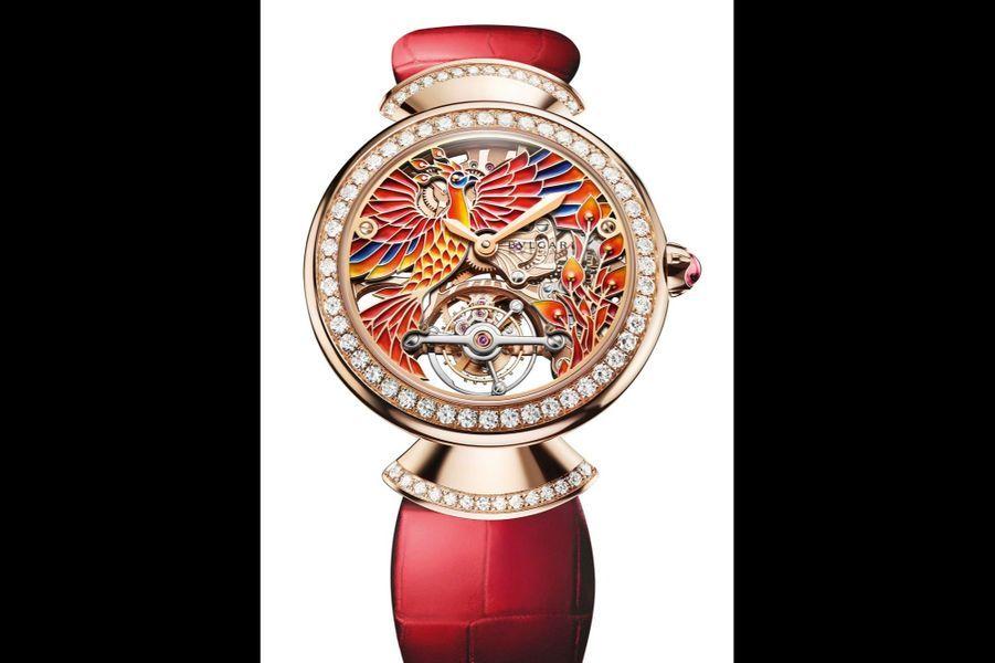 Diva's Dream Phenix en or rose et diamants, 37 mm de diamètre, mouvement à remontage manuel, bracelet en alligator. Série limitée à 50 exemplaires. Bulgari. 143 000 €.