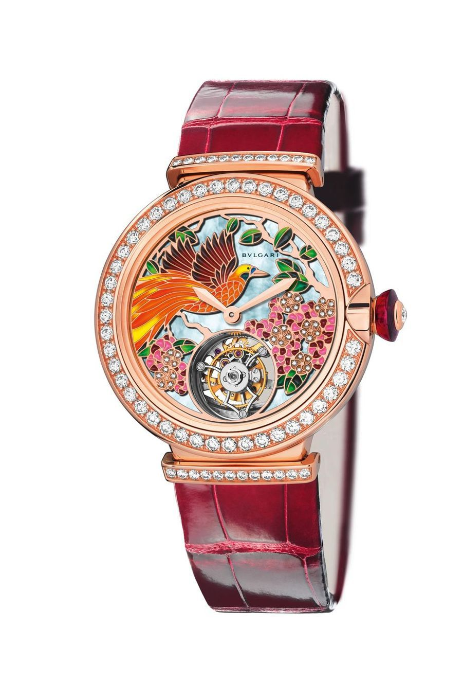 Il Giardino Paradiso en or rose, diamants et émail, mouvement automatique avec tourbillon, bracelet en alligator. Bulgari. 109 000 €.