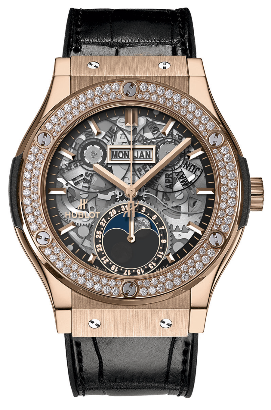 Classic Fusion Aerofusion en or rose et diamants, mouvement automatique à calendrier complet, jour, mois, date et phases de lune, bracelet en alligator cousu sur alligator. Hublot. 32 500 €.