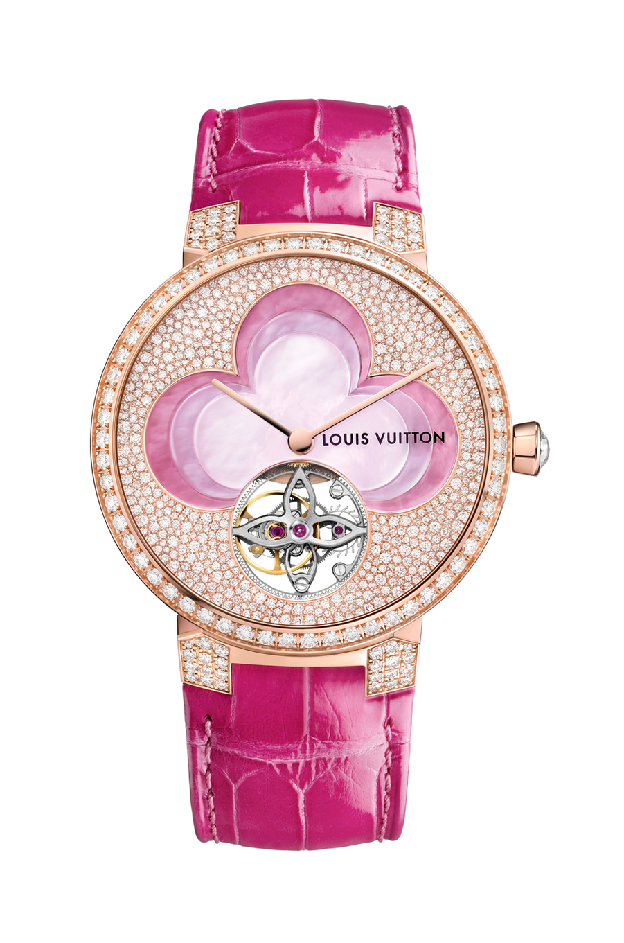 Tambour Monogram Blossom en or rose, diamants et nacre, mouvement automatique avec tourbillon, bracelet en alligator. Louis Vuitton. 105 000 €.