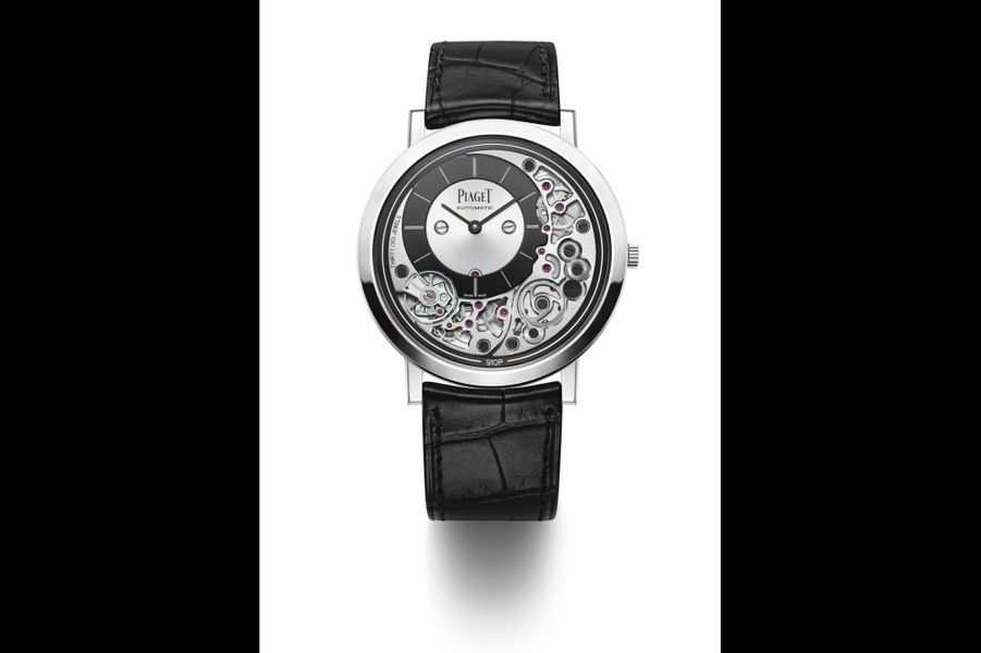 Altiplano Ultimate 910 P en or gris, mouvement automatique, bracelet en alligator. Piaget. 29 300 €.