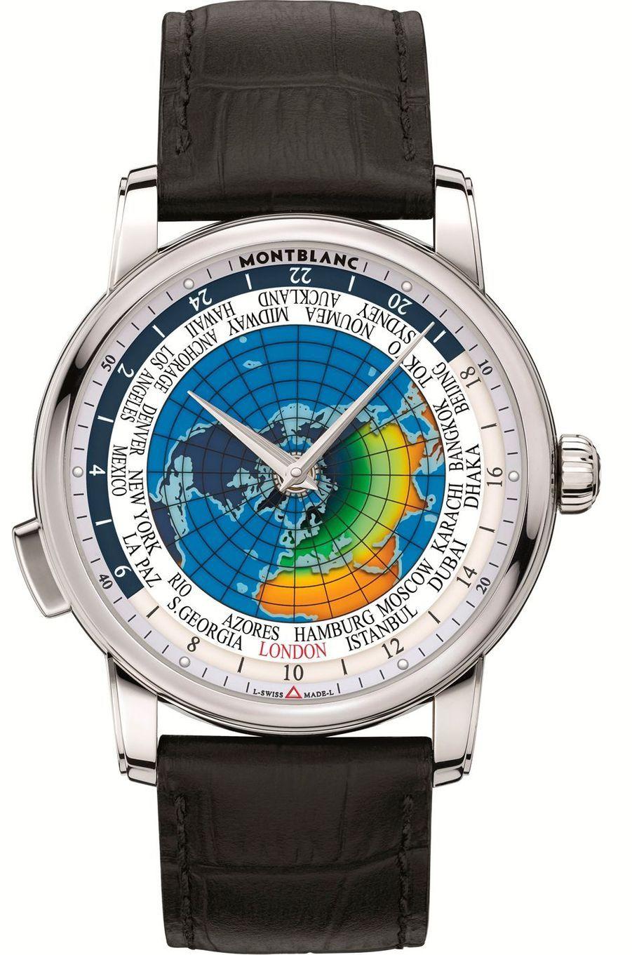 4810 Orbis Terrarum en acier, mouvement automatique, bracelet en alligator, 5 900 €. Montblanc.