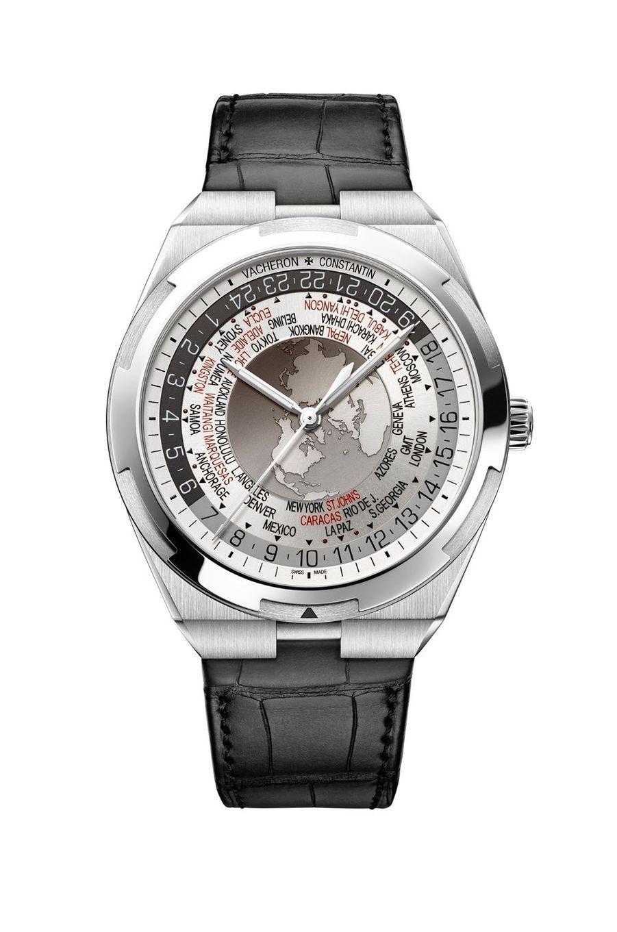 Overseas Heures du Monde en acier, mouvement automatique, bracelet en alligator, 39 900 €. Vacheron Constantin.