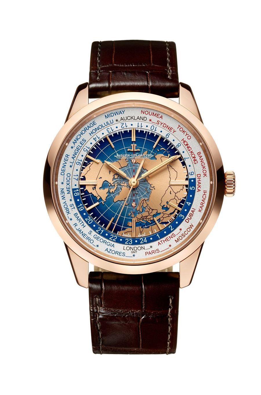 Geophysic Universal Time en or rose, mouvement automatique, bracelet en alligator, 24 600 €. Jaeger-LeCoultre.
