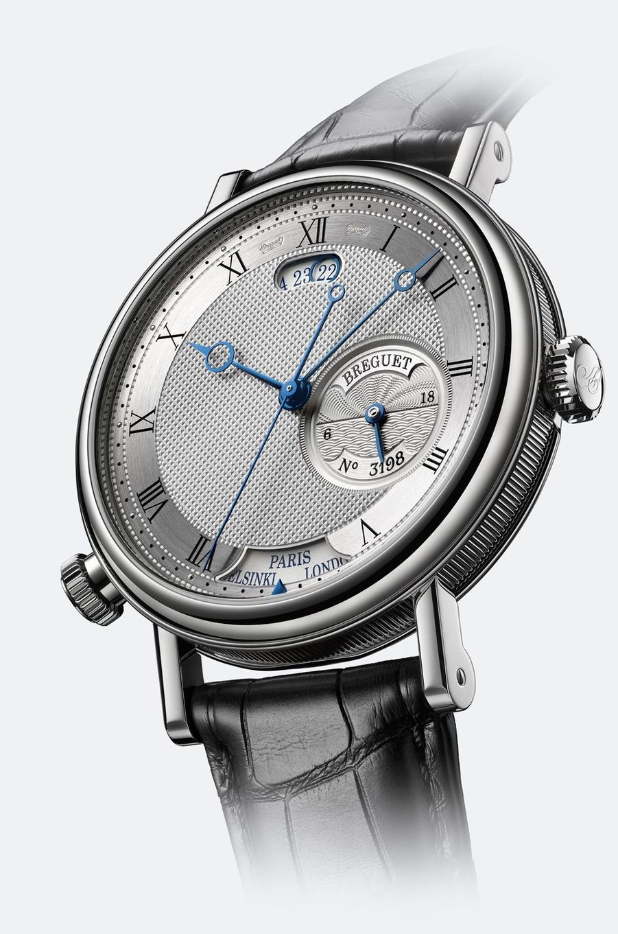 Classique Hora Mundi 5727 en or blanc, mouvement automatique, bracelet en alligator, 67 400 €. Breguet.