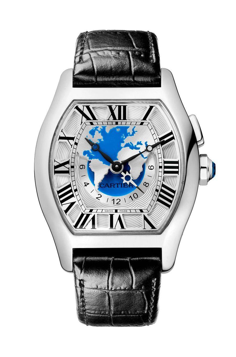 Tortue Multifuseau XXL en or gris, mouvement automatique, bracelet en alligator, 44 900 €. Cartier.