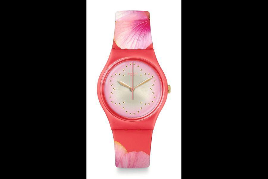 Fiore de Maggio en plastique, 34 mm de diamètre, mouvement à quartz, bracelet en silicone, Swatch, 80 €.
