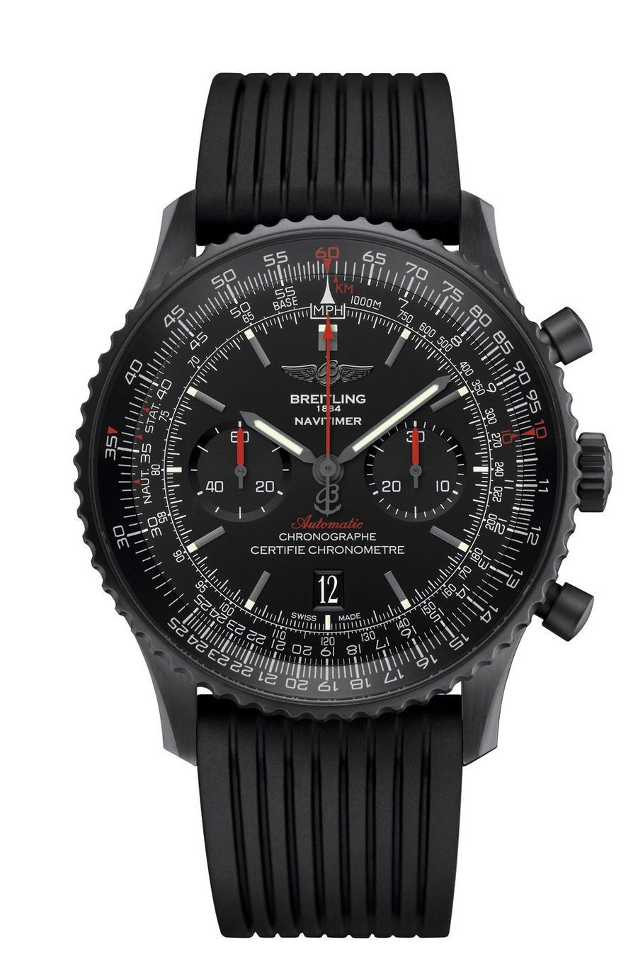 Navitimer 46 Blacksteel en acier traité DLC, 46 mm de diamètre, mouvement chronographe automatique, bracelet en caoutchouc. 8 750 €. Breitling.