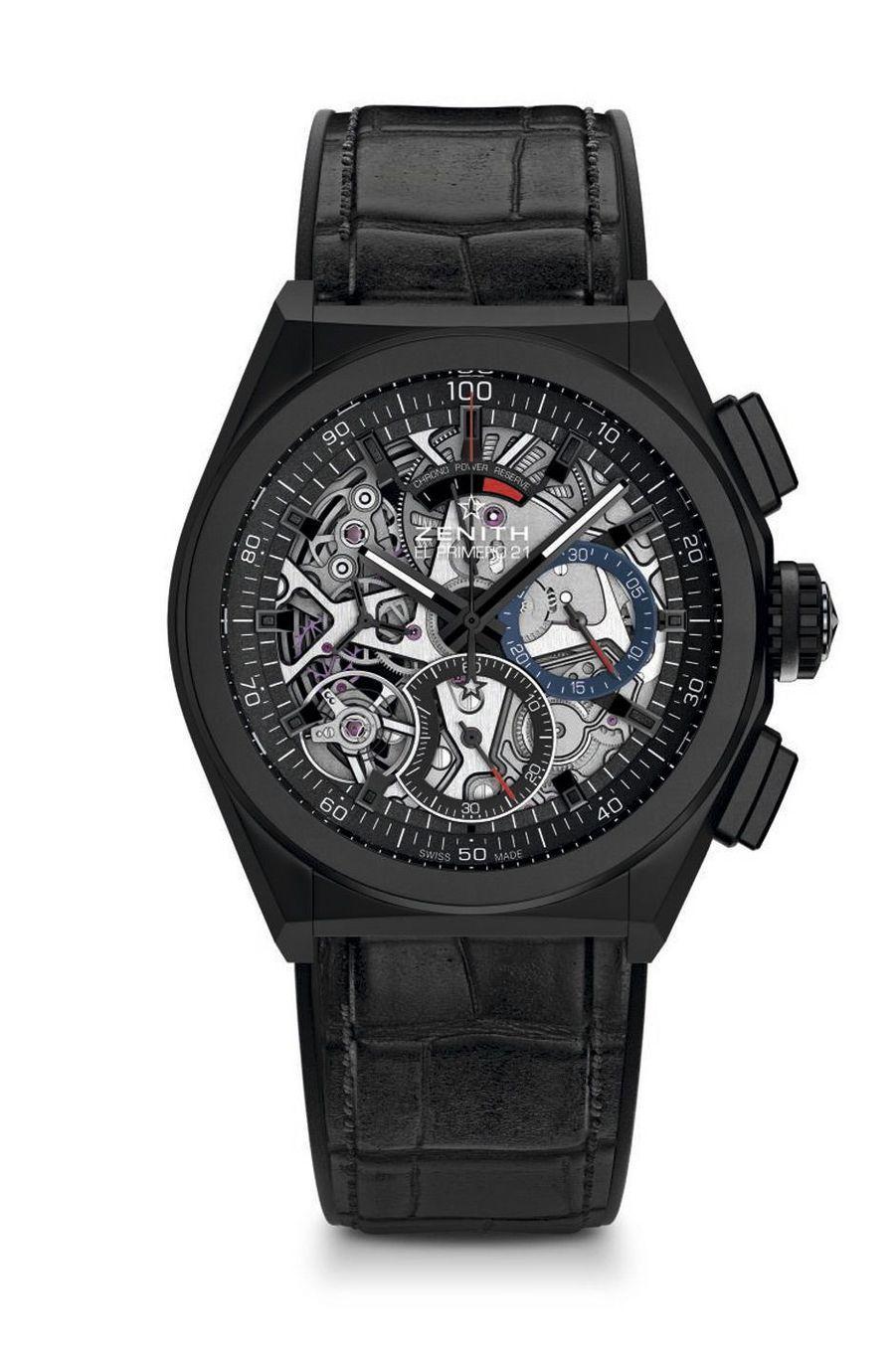 Defy El Primero 21 en aluminium céramisé, 44 mm de diamètre, mouvement chronographe squelette automatique, bracelet en caoutchouc recouvert d'alligator. 11 500 €. Zenith.