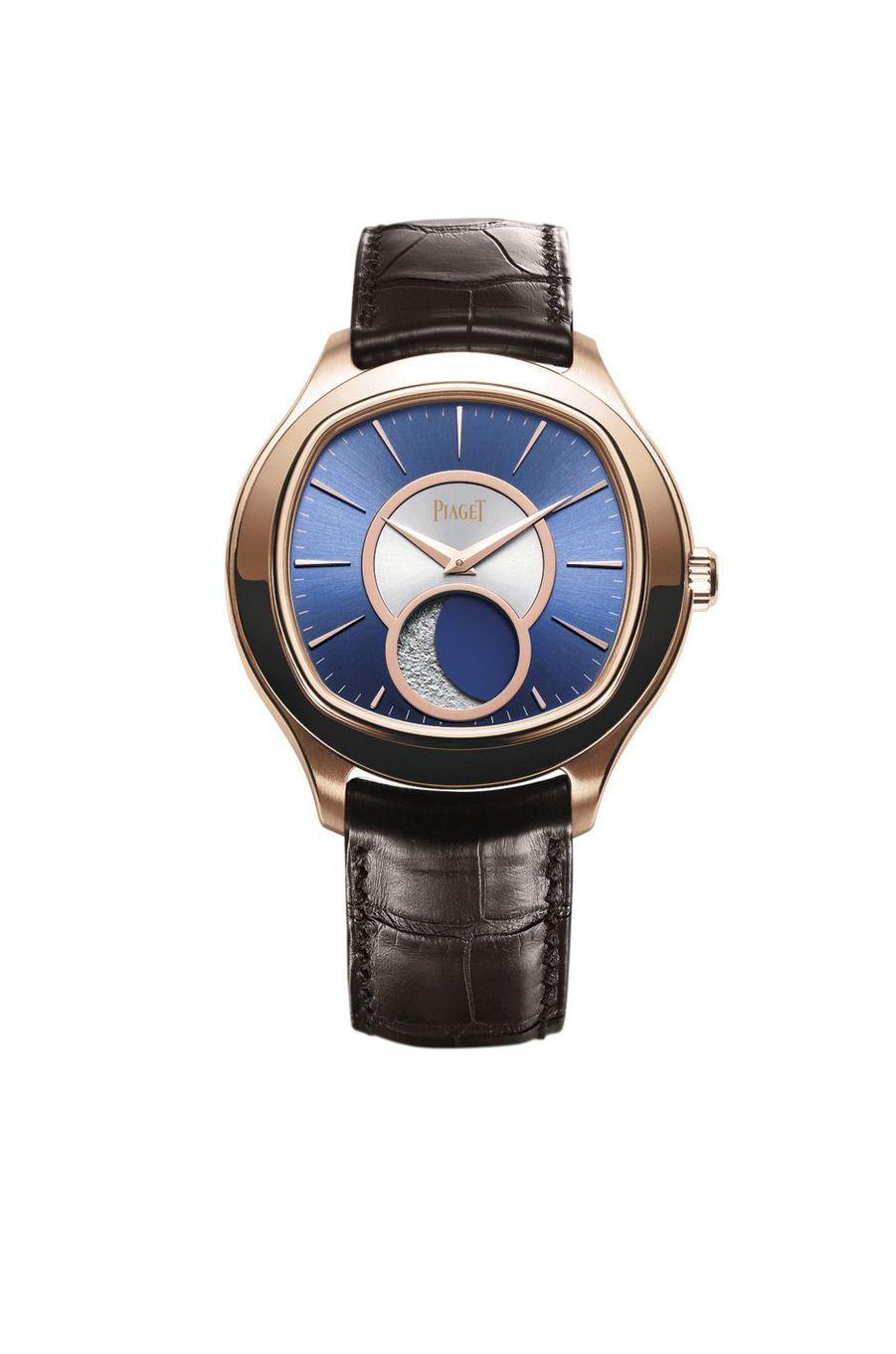 Emperador Coussin en or rose, 46, 5 mm, mouvement automatique, bracelet en alligator. 46 700 €. Piaget.