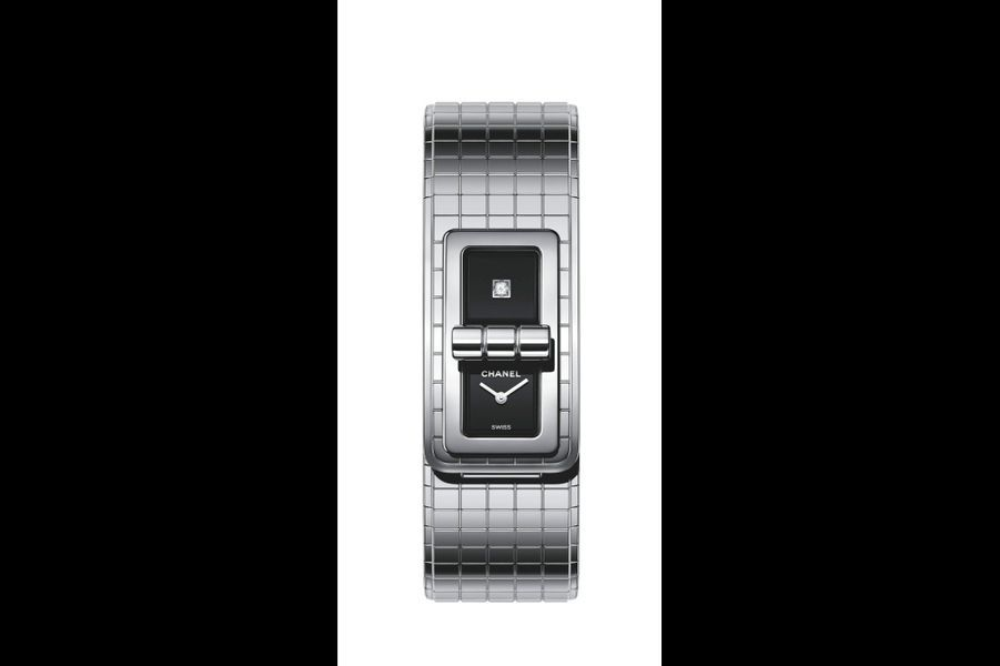 «Code Coco» en acier sertie d'un diamant, mouvement à quartz, Chanel. 4 850 €.
