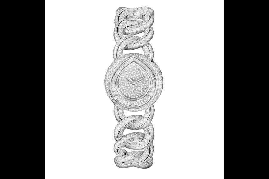 «Joséphine Rondes de Nuit» en or blanc et diamants, mouvement à quartz, Chaumet. 252400 €.
