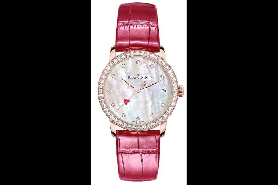 Villeret Woman Date en or rouge, lunette sertie de diamants, 33 mm de diamètre, mouvement automatique, bracelet en alligator, série limitée à 28 exemplaires,20 960 €. Blancpain.