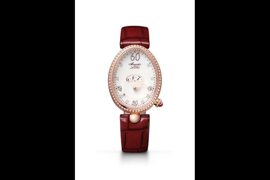 Reine de Naples Cœur en or rose, lunette sertie de diamants, 36, 5 x 28, 5 mm, mouvement automatique, bracelet en alligator, série limitée à 28 exemplaires,44 900 €. Breguet.