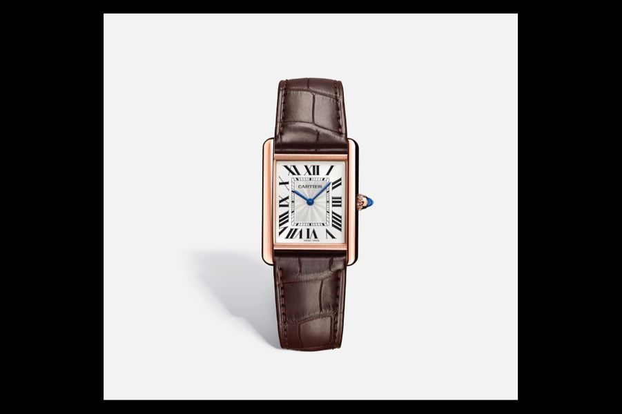 Un modèle mixte:Tank Louis Cartier en or rose, 34 x 25, 5 mm, mouvement à remontage manuel, bracelet en alligator, 12900 €. Cartier.