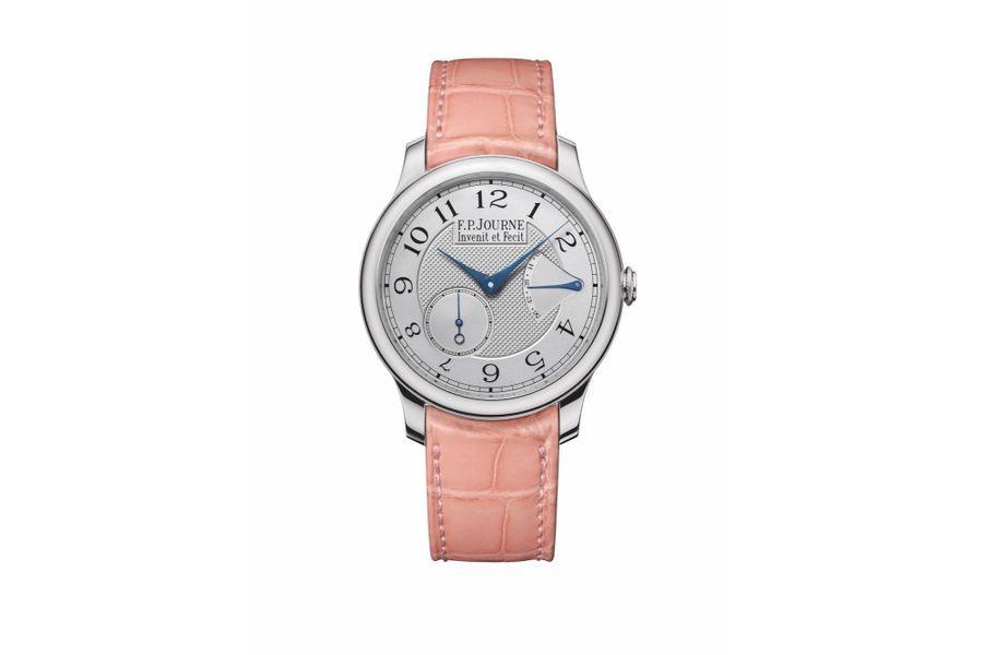 Chronomètre Souverain en platine, 40 mm de diamètre, mouvement à remontage manuel, bracelet en alligator,37700 €. F.P. Journe.
