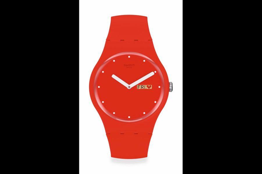 P(e/a)nse-Moi en plastique, 41 mm de diamètre, mouvement à quartz, bracelet en silicone, 95 €. Swatch.