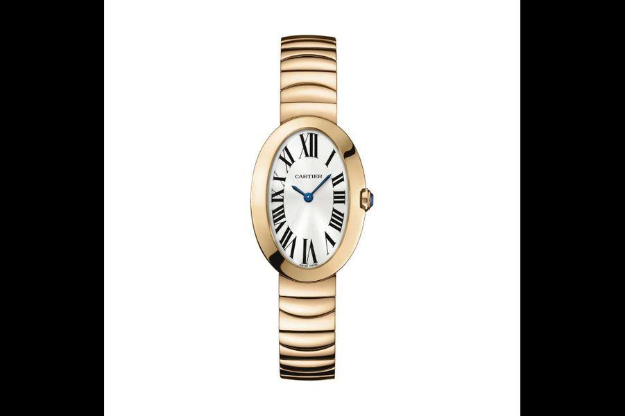 Baignoire petit modèle en or rose, mouvement à quartz, bracelet en or rose. 24 500 €. Cartier.