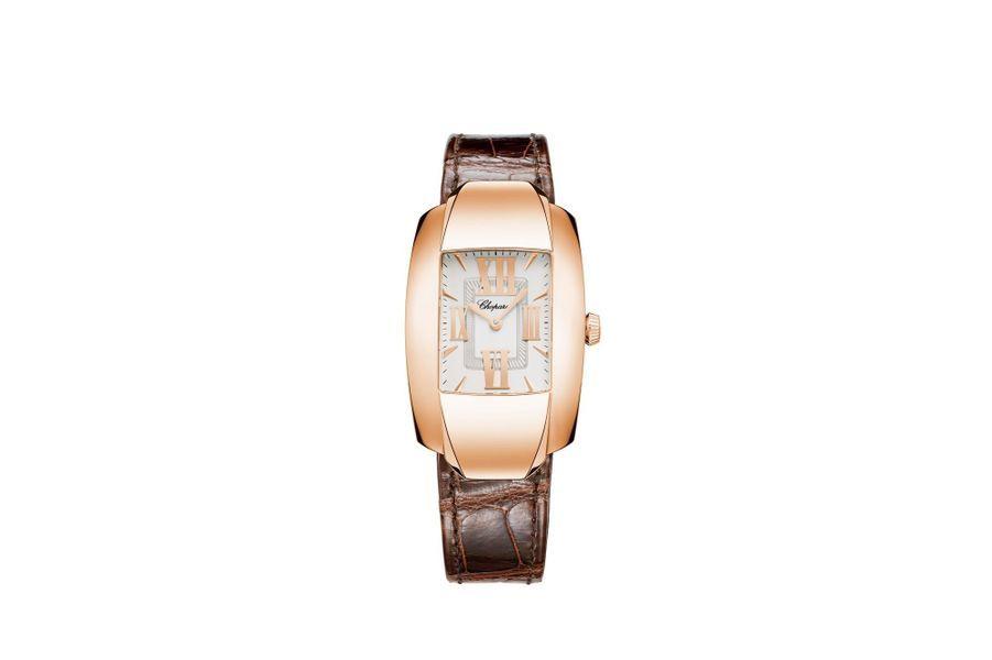 La Strada en or rose, mouvement à quartz, bracelet en alligator. 11130 €. Chopard.