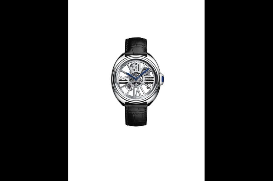 Clé de Cartier en palladium, 41 mm de diamètre, mouvement automatique, bracelet en alligator. Cartier. 54 000 €.